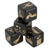 4 dés noir et or