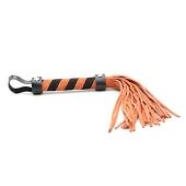 Fouet en cuir orange et noir 28 cm