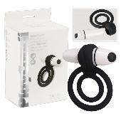 Double anneau vibrant en silicone noir Lollipop - 7 vitesses