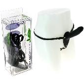 Gode ceinture anal en latex noir - 13 cm